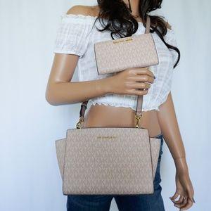 Michael Kors Selma Xbody Bag & Bifold Wallet Set